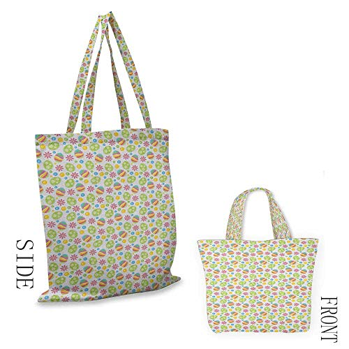 Beach bag EasterPatchwork Style Graphic Scrapbook Pattern with Daisy Sewing Buttons and Egg Figures Multicolor18