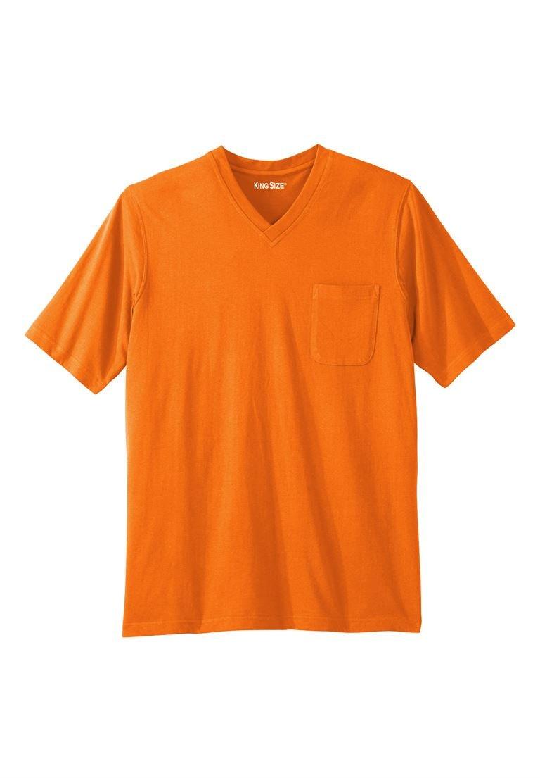 KingSize Men's Big & Tall Shrink-Less Lightweight Cotton V-Neck Pocket Tee,