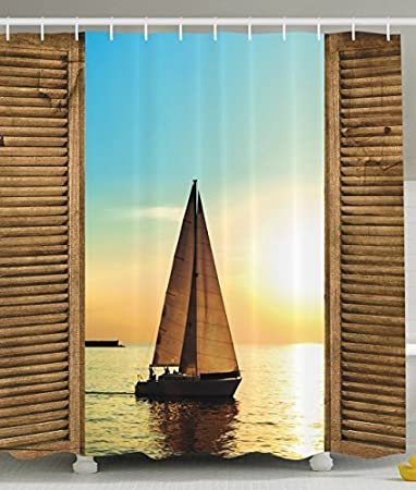Nautical Shower Curtain Sea Life Decor By Ambesonne Sailboat On The Ocean Scenic Sunset View
