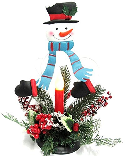 Snowman Candle Centerpiece Metal 13