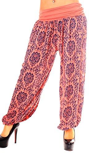 Harén Pantalón Mujer avispas ancho de pantalón Farbige pluder–Pantalón Globo con Royal Print costura Rojo