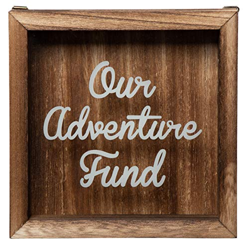 Shadow Box Bank - Wooden Adventure Fund Shadow Box, Adult Piggy Bank, Money Saving Bank, for Travel Vacation Honeymoon Graduation Trip Fund, Our Adventure Fund, Natural Wood, 7.1 x 7.1 x 1.8 Inches