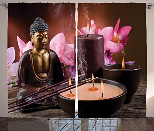 Ambesonne Buddha Decor Collection, Buddha with Candle and Exotic Floral Background Zen Faith Decorative Mystic Home Decor, Living Room Bedroom Curtain 2 Panels Set, 108 X 84 Inches, Brown Golden