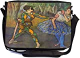 Rikki Knight Edgar Degas Art Harlequin and Colombine Design Multifunctional Messenger Bag - School Bag - Laptop Bag - with padded insert for School or Work - Includes UKBK Premium coin Purse