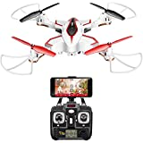 DoDoeleph Syma X56W RC Drone Foldable Quadcopter With HD Wifi Camera and Live Video 4 Channel Headless Mode Altitude Hold One Key Take off Landing UAV White