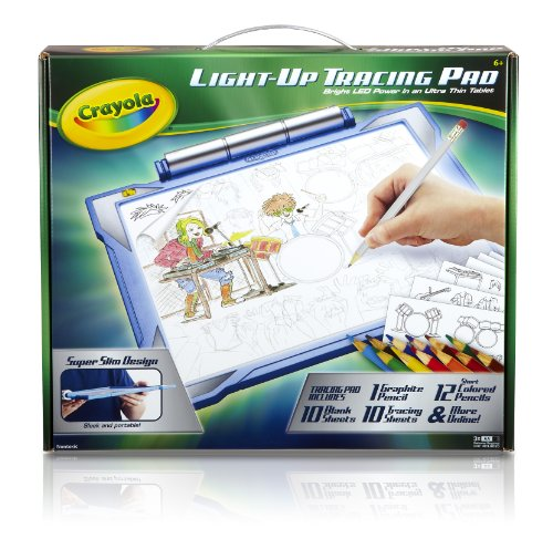 Crayola; Light-up Tracing Pad,Art Tool; Bright LEDs; Easy Tracing with 1 Pencil, 12 Colored Pencils, 10 Blank Sheets, 10 Tracing Sheets,Blue