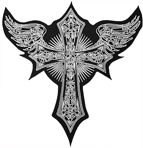 Iron Angel ([Large Size] Papapatch Cross with Angel Wings Jacket Vest Costume Biker Motorcycle Embroidered Sew on Iron on Patch (IRON-CROSS-ANGEL-WINGS-LARGE))
