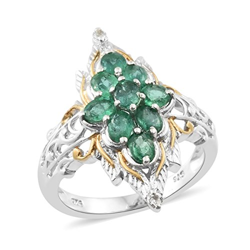 Premium Emerald, White Topaz 14K Yellow Gold and Platinum Plated Silver Cluster Leaf Ring 1.3 cttw Size 9 (Emerald Cluster Ring Setting)