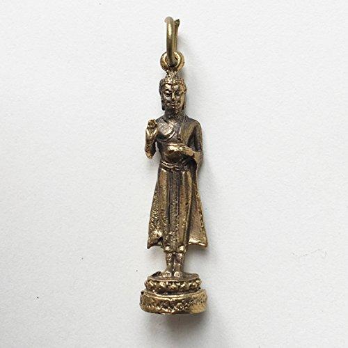 Rian Luang Por Wat Baanieam Brass wealth attraction life protection Pendant Thai Amulet God Lucky Success Thai Buddha Brassl Mini Pendant, Thai Amulets Hanger, Wealth Rich Lucky (Mini Buddha Charm)