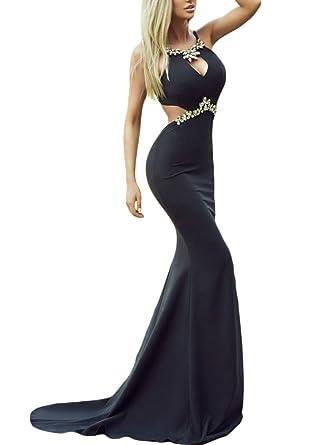 Cfanny Womens Diamond Embellished Cutout Black Mermaid Prom Dress,Black ,Small