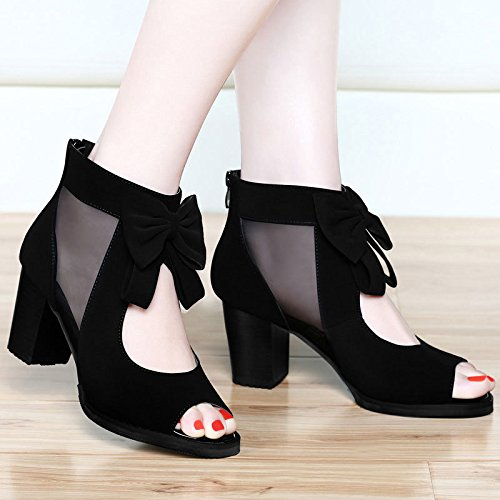 Sandals And Thick Yarn Tie Fashion Net 40 Shoes High Girl Sandals Sleek Ladies Heeled Bow Mouth The Shoes The With Write New Women Fish Versatile New Yarn AJUNR XSnTHYX