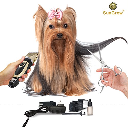 SunGrow All Inclusive Pet Grooming Kit - Quiet and Comfortable Fur Clipping Set from Contains 4 Comb Attachments, Cleaning Brush and Lubricating Oil - Trims fur on Dogs, Cats & other Family Pets by SunGrow (Image #1)
