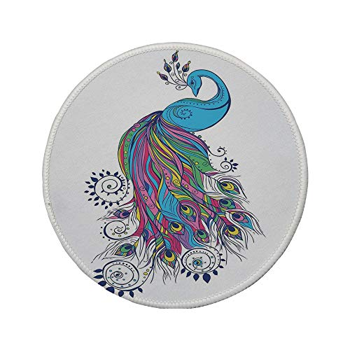 Non-Slip Rubber Round Mouse Pad,Peacock Decor,Colorful Fashion Art with Peacock Pattern Stylish Ornament Paisley Oriental,11.8