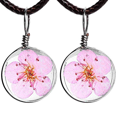 Pavaruni Real Flower Pendant 2 Pack Handmade Glass Necklace Original Gift (Cherry - Craftsman Cherry