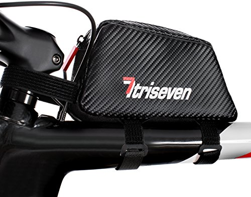 TRISEVEN Carbon Aero Bag 20,Cycling Frame Bag,Triathlon Bag,MTB Bag,Fuel Capacity, Phone,Tools,Top Tube Bag,Bike Accessories,6 Gels Pump Wallet,4 Straps or 2 Bolts,Headphones hole (BLACK)
