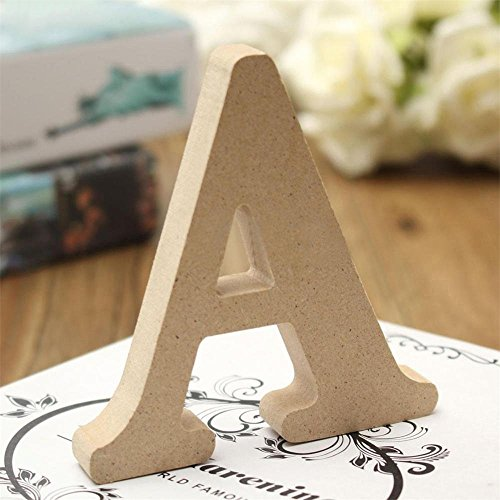 Andision Decorative Wood Letters, Hanging Wall 26 Letters Wooden Alphabet Wall Letter for Baby Name Girls Bedroom Wedding Brithday Party (Decorative Letters)