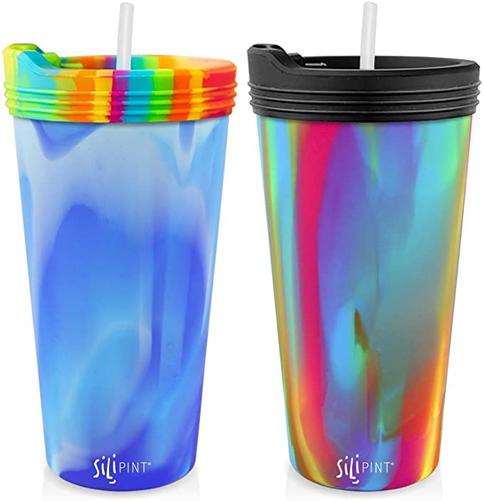 Unbreakable Silicone Cup Drinkware Shatter-proof Silipint Silicone Pint Glass Set Patented Single Arctic Sky