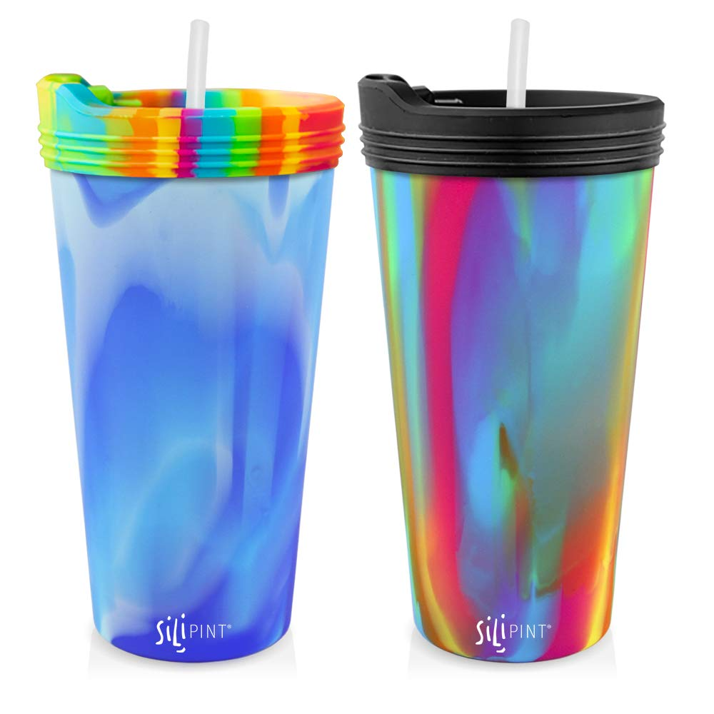 Silipint The Original Silicone Cups - 22oz Bomber Glass Set With Lids and Straws, Patented, BPA-Free, Shatter-proof Silicone Cup Drinkware (Arctic Sky & Hippy Cups, Bouncy Black Lid, Frosted Straw) by Silipint