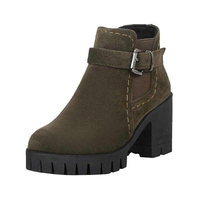Zapatillas, BaZhaHei, Hebilla de cinturón de Terciopelo Mate de tacón Medio Botas Zapatos de