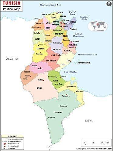 Amazon Com Tunisia Political Map 36 W X 48 41 H Office