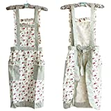 Hyzrz Stylish Flower Pattern Women's Fashion Floral Cotton Chef Cooking Cook Apron Bib with Pockets 11#