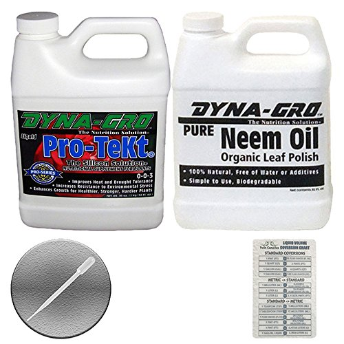 LE: PURE NEEM OIL & PRO-TEKT + Twin Canaries Chart & PIPETTE - 1 Quart Each (Dyna Gro Neem Oil)