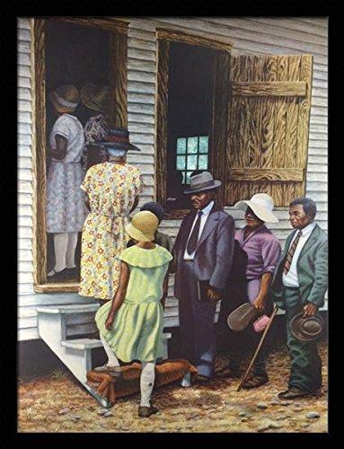 Morning Framed Poster - US Art Sunday Morning - Janice Huse 24x32 Black Framed - Religious, Jesus, African American Black Art Print Wall Decor Poster #9b14