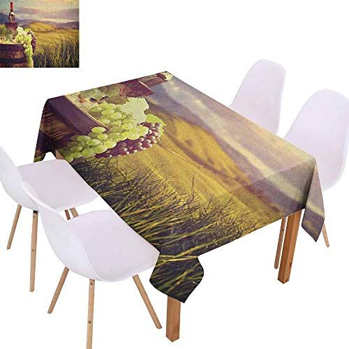 Easy Care Tablecloth Wine Italy Tuscany Landscape Rural Vineyard Autumn Harvest Grapes Drink Viticulture and Durable W40 xL60 Green Black Brown