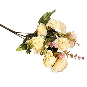 VEFSU Artificial Fake Flowers Carnations Silk Floral Wedding Bouquet Bridal Hydrangea Home Decor 80