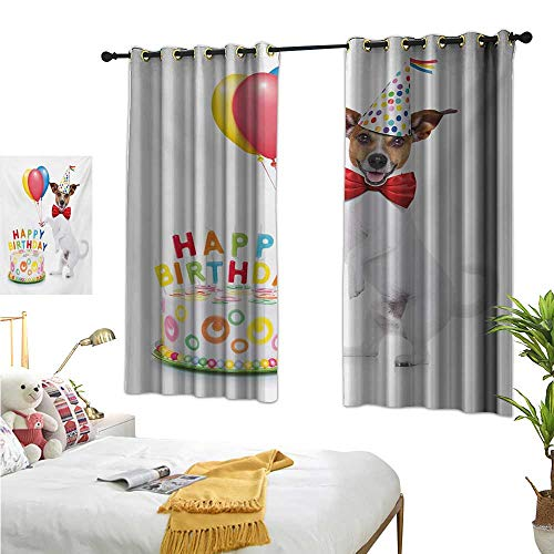 MartinDecor Kids Birthday Customized Curtains Celebration Dancing Party Dog with Cake and Colorful Balloons Artwork Print W55 x L45,Suitable for Bedroom Living Room Study, etc.