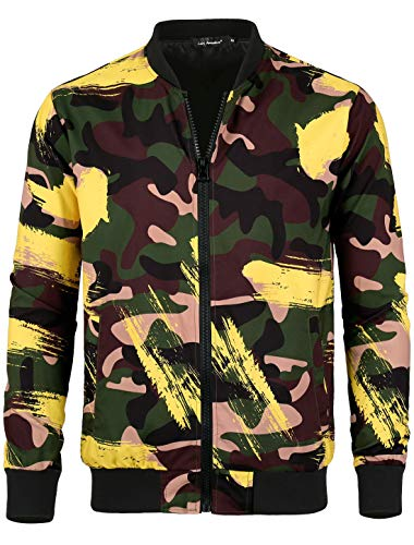 Lars Amadeus Men Bomber Jacket Camo Printed Zipper Lightweight Casual Coat Jackets Green Yellow L