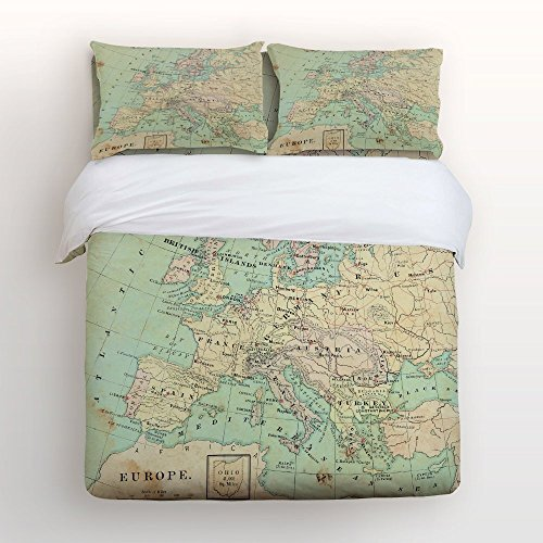 Libaoge 4 Piece Bed Sheets Set, Retro Vintage Detailed Europe Map Print, 1 Flat Sheet 1 Duvet Cover and 2 Pillow ()