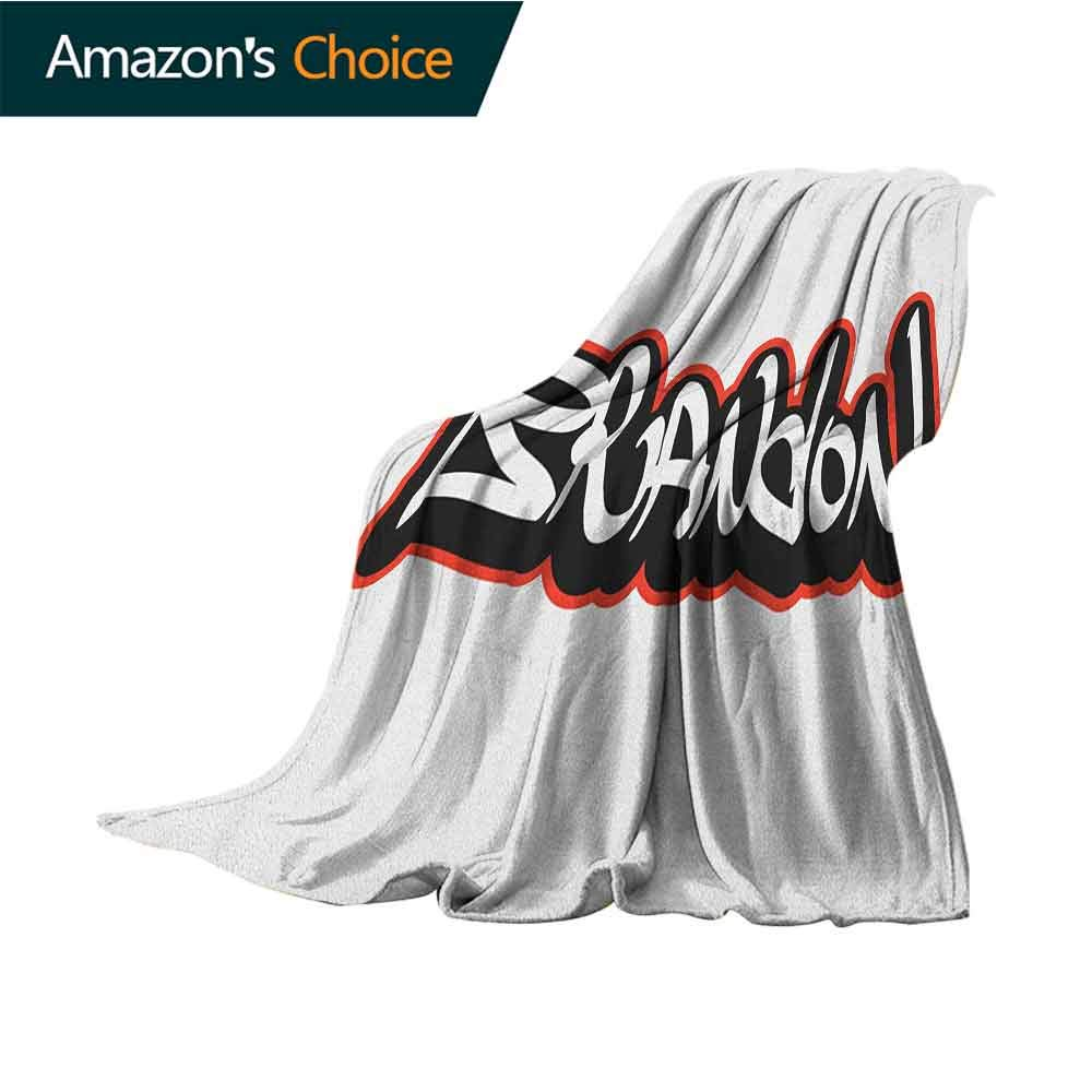 Brandon Travel Blanket,Urban Street Culture Hip-hop Theme Lettering Individual Name Design Microfiber All Season Blanket for Bed or Couch Multicolor,70'' Wx90 L Vermilion Black and White