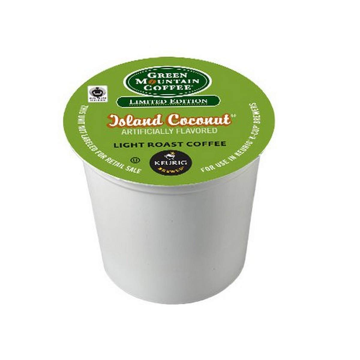 Green Mountain Coffee Light Roast K-Cup for Keurig Brewers, Fair Trade Island Coconut (Pack of 96)