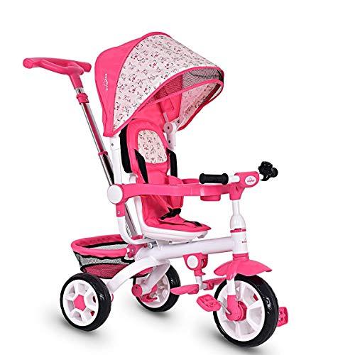 HONOEY Joy 4-in-1 Kids Tricycle Steer Stroller Toy Bike w/Canopy Basket (Pink)