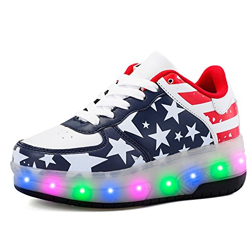 Rechargeable Boys Girls Double Wheels Skate Shoes Roller Flashing Sneakers breathable LED Light Up Shoes