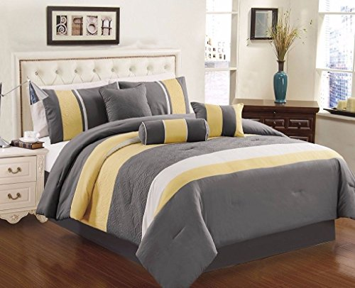 Black Gray All Sizes 7-Piece 3-tone Embroidery Striped Comforter Set Yellow