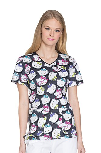 (Cherokee Tooniforms Women's Mock Wrap Hello Kitty Print Scrub Top Small Print)