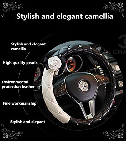 Follicomfy Car Armrest Center Console Cover Cushion Pad with Crystal Pearl Flower Fashion Car Interior Accessories,White Flower