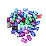 Buorsa 40pcs Schrader Multi-Color Tire Valve Caps, Valve Caps for Bike Tires Aluminum Alloy Bicycle Bike Tire Valve Caps Dust Covers Presta Valve Cap