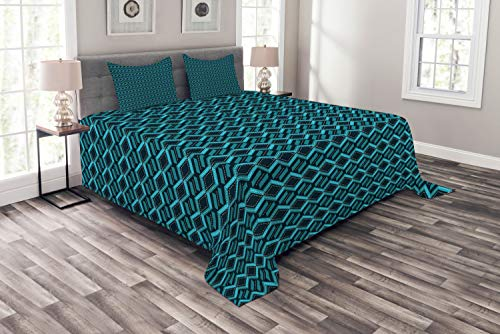 Lunarable Abstract Bedspread, Repetitive Geometric Pattern Childish Game Road Look, Decorative Quilted 3 Piece Coverlet Set with 2 Pillow Shams,Queen Size, Dark Violet Blue Teal Sea Blue and White