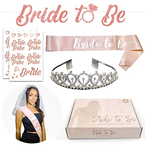 Bachelorette Party Decorations and Supplies - Rose Gold Bride To Be Sash and Banner, Tiara Crown, White Veils for Brides and 12 Bride Tribe Tattoos for Bridal Shower and Wedding Engagement Decor -