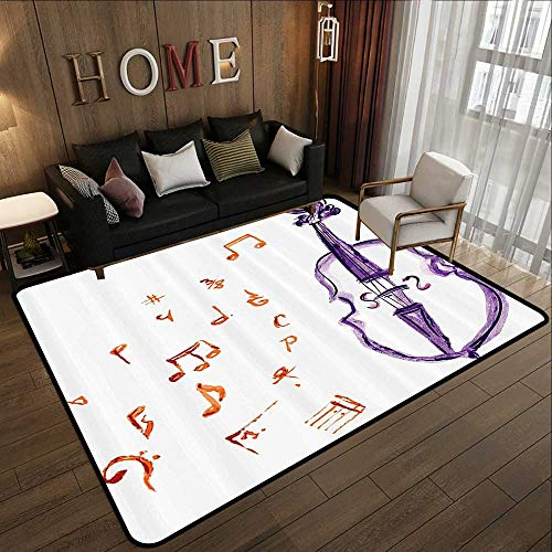 Custom fit Floor mats,Music Decor,Musical Notes Instrument Violin Cello Watercolor Based White Backdrop Print,Purple and Red 63