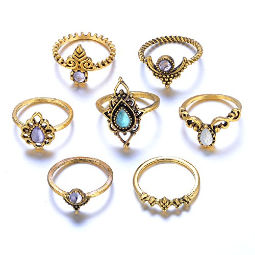 WoCoo Women Rings,7pcs/Set Bohemian Vintage Silver Stack Rings Above Knuckle Blue Rings Set(Gold,)