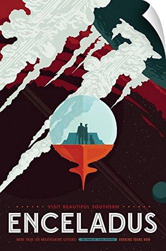 NASA Jpl Wall Peel Wall Art Print entitled Enceladus - Jpl Travel Poster