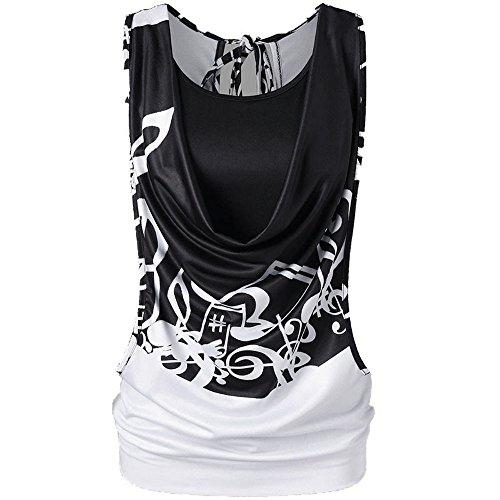 Redshop Sleeveless T-Shirt Women Casual Sleeveless Tops Summer Sexy Cutout Back Open Double Layer Black