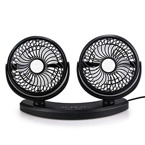 Welltop Portable Mini USB Fan Table Desk Fan 360° Rotating Dual Head Car Fan with 3 Speed, Quiet Powerful Cooling Fan for Home Office Camping Travel Car