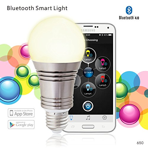 Bluetooth Mobile Action (Tyke Supply llc Bluetooth LED Smart Phone Controlled Light Bulb - Dimmable Multicolored 16 Millions Color Changing Smart LED Lights)