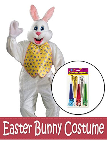 BirthdayExpress Deluxe Easter Bunny Mascot with Yellow Vest and Foil Horns Costume Kit - -