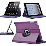 Purple 360 Degrees Rotating Stand Leather Case for Ipad 2 2nd Generation
